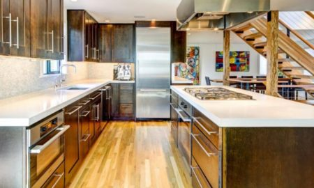 asian-style-kitchen-features-dark-wood-cabinetry