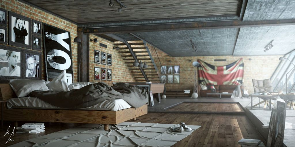 25 Amazing Industrial Bedroom Design