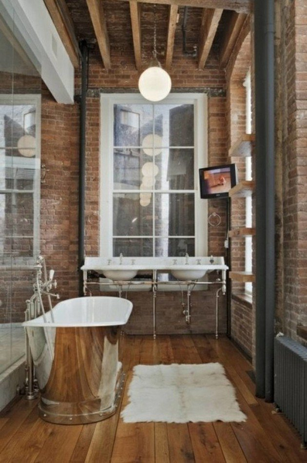 wooden-floor-industrial-bathroom-ideas