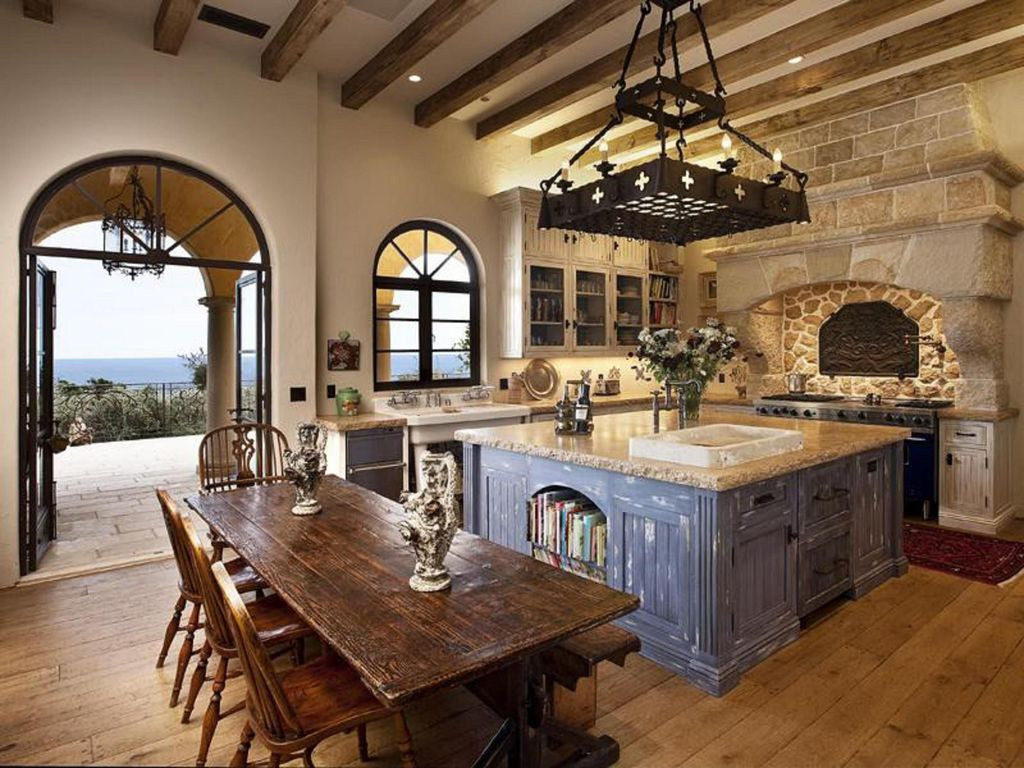 Mediterranean Kitchen with Drop-In Sink · Home Decor