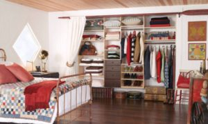 hardwood-flooring-and-wooden-ceiling-also-closets-organizers-in-rustic-bedroom